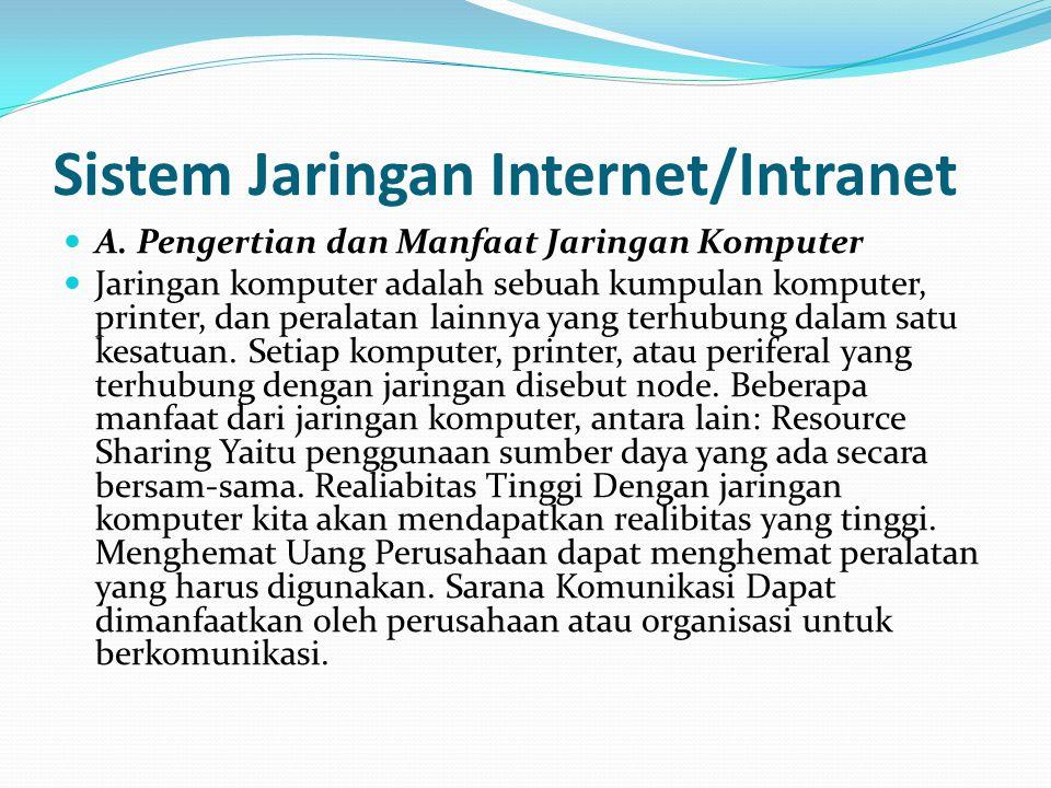 Jaringan Intranet  Intranet merupakan sebuah jaringan yag dibangun berdasarkan teknologi internet yang didalam nya terdapat basis arsitektur berupa a