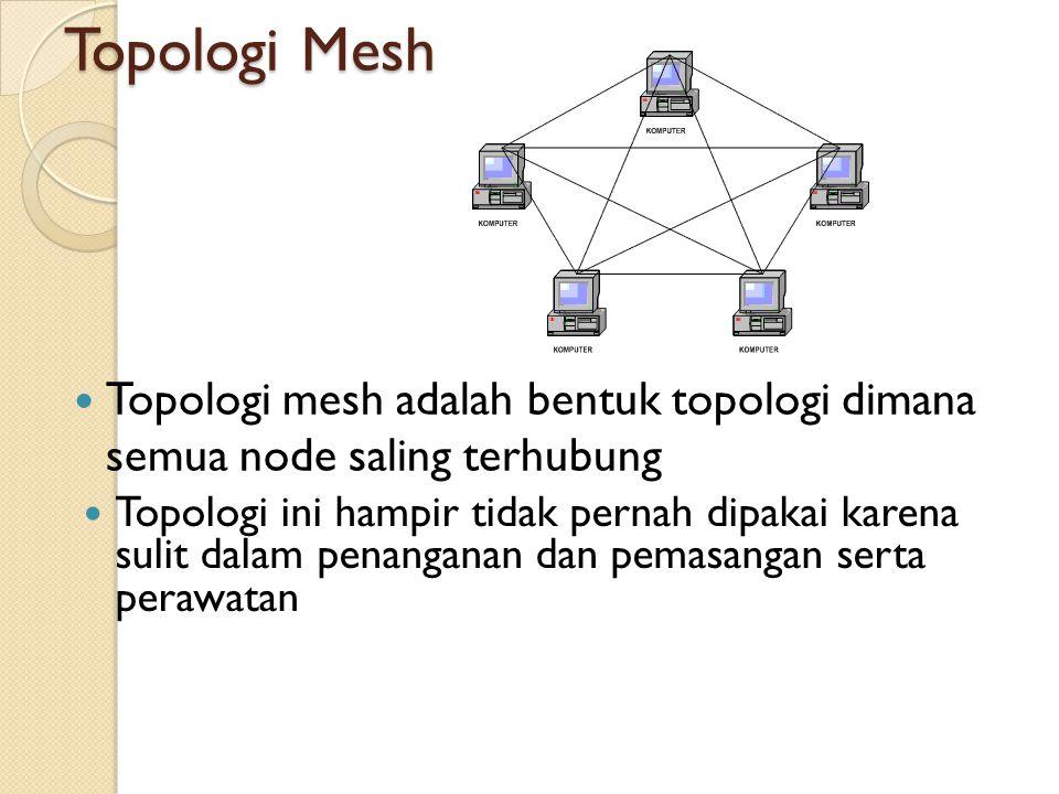 Topologi Mesh  Topologi mesh adalah bentuk topologi dimana semua node saling terhubung  Topologi ini hampir tidak pernah dipakai karena sulit dalam