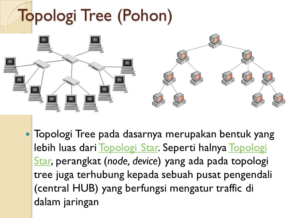 Topologi Tree (Pohon)  Topologi Tree pada dasarnya merupakan bentuk yang lebih luas dari Topologi Star. Seperti halnya Topologi Star, perangkat (node