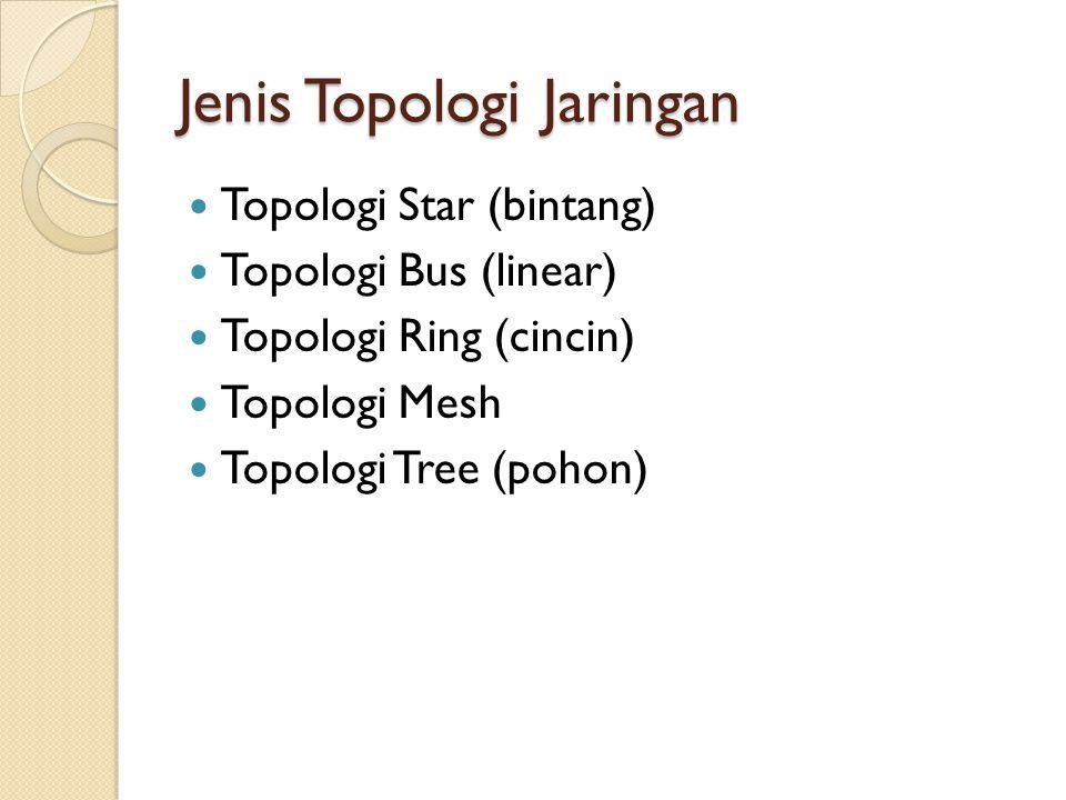 Topologi Star (bintang) Topologi Star merupakan bentuk Jaringan yang semua node terhubung Dengan titik percabangan • Topologi ini paling banyak dipakai (perusahaan/kantor/warnet)