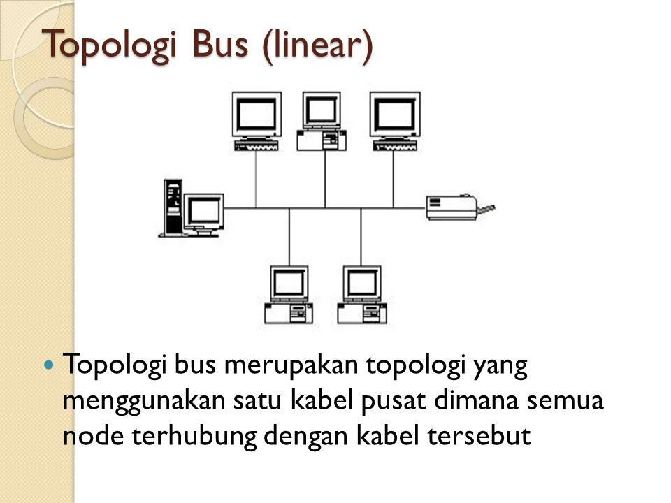 Topologi Bus (linear)  Topologi bus merupakan topologi yang menggunakan satu kabel pusat dimana semua node terhubung dengan kabel tersebut