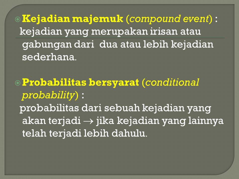  Kejadian majemuk (compound event) : kejadian yang merupakan irisan atau gabungan dari dua atau lebih kejadian sederhana   Probabilitas bersyarat (