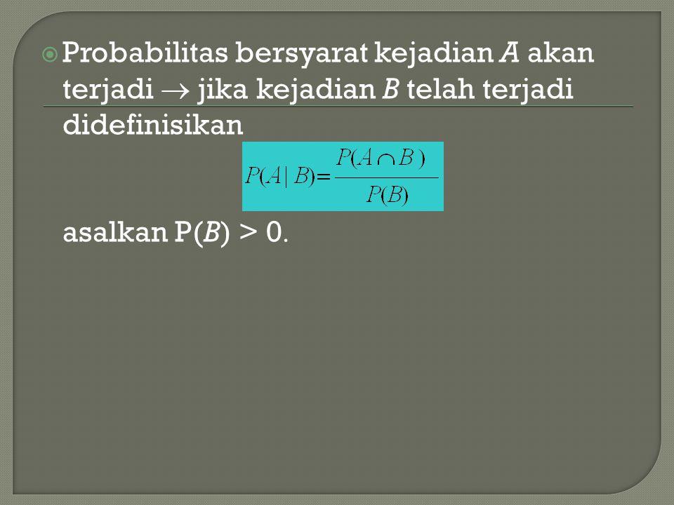  Probabilitas bersyarat kejadian A akan terjadi  jika kejadian B telah terjadi didefinisikan asalkan P(B) > 0 