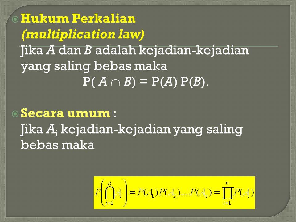  Hukum Perkalian (multiplication law) Jika A dan B adalah kejadian-kejadian yang saling bebas maka P( A  B) = P(A) P(B)   Secara umum : Jika A i k
