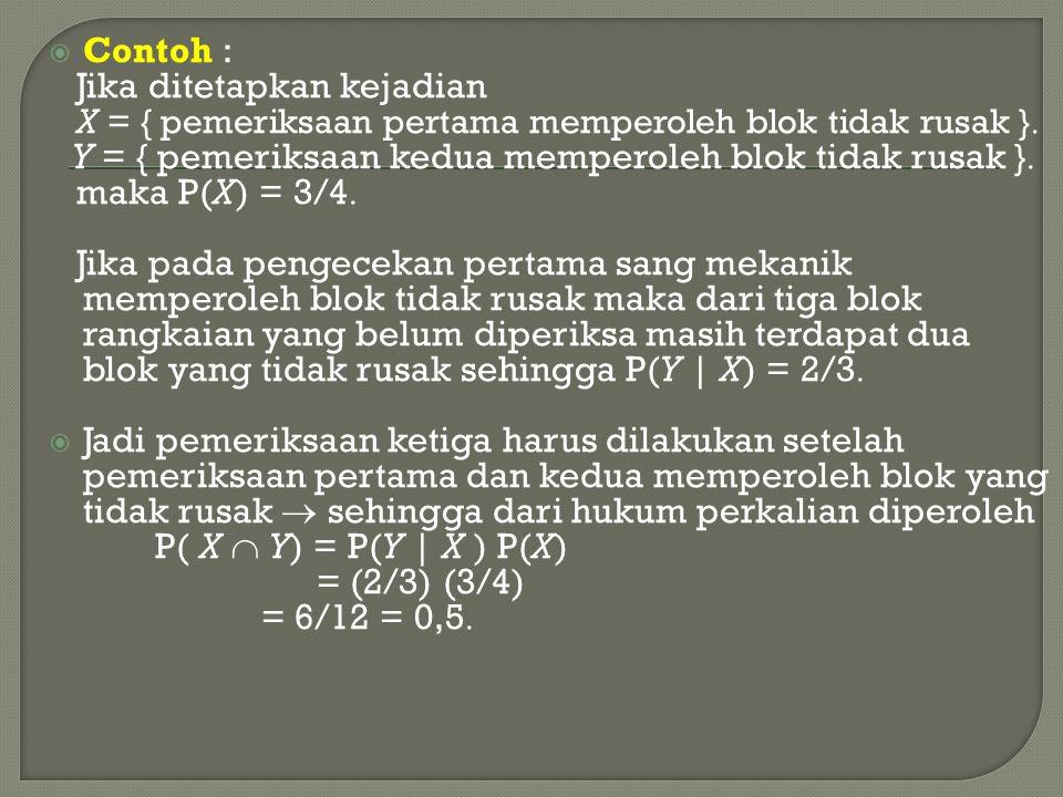  Contoh : Jika ditetapkan kejadian X = { pemeriksaan pertama memperoleh blok tidak rusak }  Y = { pemeriksaan kedua memperoleh blok tidak rusak } 