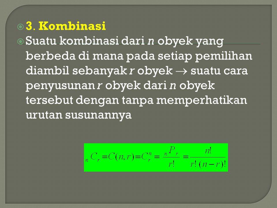  3  Kombinasi  Suatu kombinasi dari n obyek yang berbeda di mana pada setiap pemilihan diambil sebanyak r obyek  suatu cara penyusunan r obyek dar