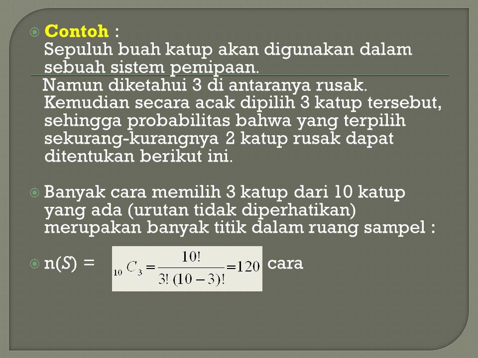  Contoh : Sepuluh buah katup akan digunakan dalam sebuah sistem pemipaan  Namun diketahui 3 di antaranya rusak  Kemudian secara acak dipilih 3 katu