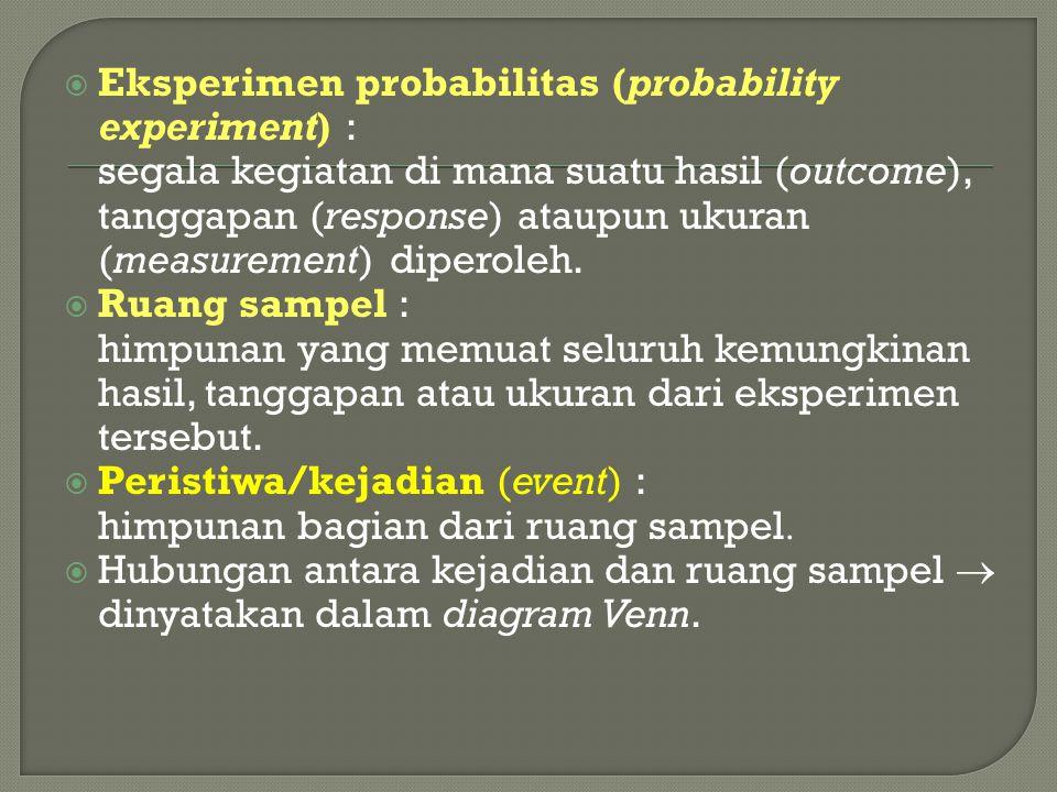  Contoh : Jika kita memeriksa 3 buah sekering satu per satu secara berurutan dan mencatat kondisi sekering tersebut dengan memberikan notasi B untuk sekering yang baik dan P untuk sekering yang putus  ruang sampel pada eksperimen probabilitas pemeriksaan tersebut : S = { BBB, BBP, BPB, PBB, PPB, BPP, PBP, PPP}.