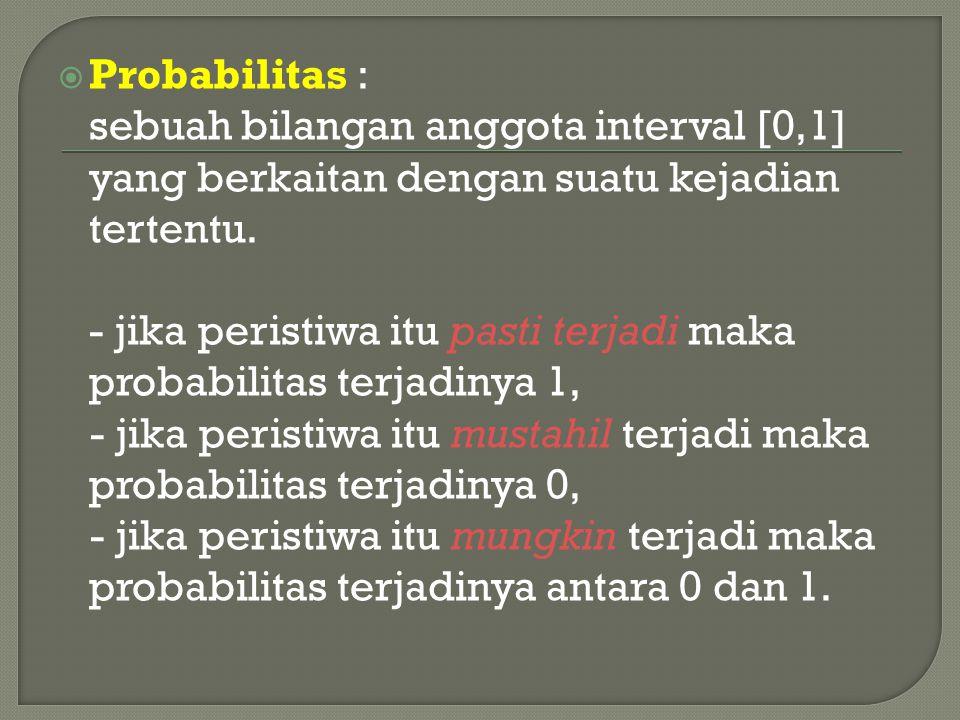  Probabilitas : sebuah bilangan anggota interval [0,1] yang berkaitan dengan suatu kejadian tertentu. - jika peristiwa itu pasti terjadi maka probabi