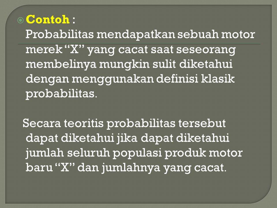 """ Contoh : Probabilitas mendapatkan sebuah motor merek """"X"""" yang cacat saat seseorang membelinya mungkin sulit diketahui dengan menggunakan definisi kl"""