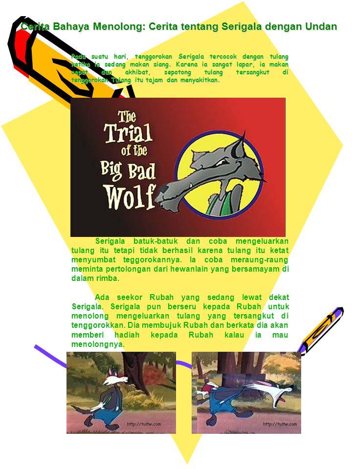 Pada suatu hari, tenggorokan Serigala tercocok dengan tulang ketika ia sedang makan siang. Karena ia sangat lapar, ia makan cepat dan akhibat, sepoton