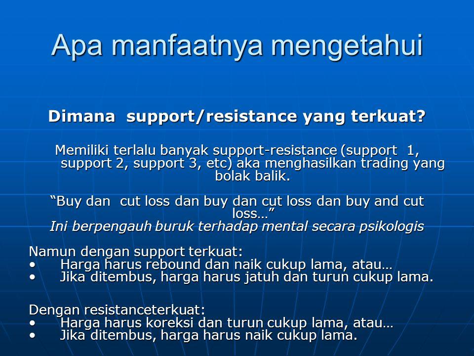Apa manfaatnya mengetahui Dimana support/resistance yang terkuat? Memiliki terlalu banyak support-resistance (support 1, support 2, support 3, etc) ak