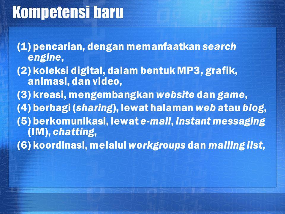 Kompetensi baru (1) pencarian, dengan memanfaatkan search engine, (2) koleksi digital, dalam bentuk MP3, grafik, animasi, dan video, (3) kreasi, menge