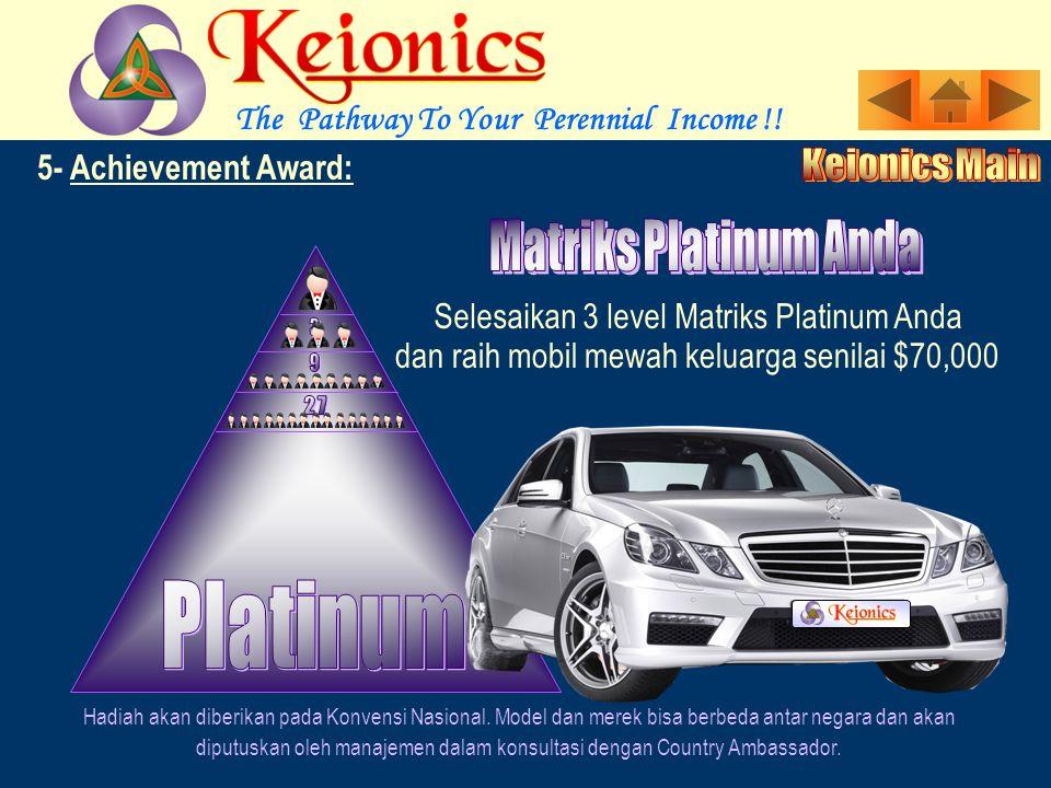 5- Achievement Award: Selesaikan 3 level Matriks Gold Anda Hadiah akan diberikan pada Konvensi Nasional.