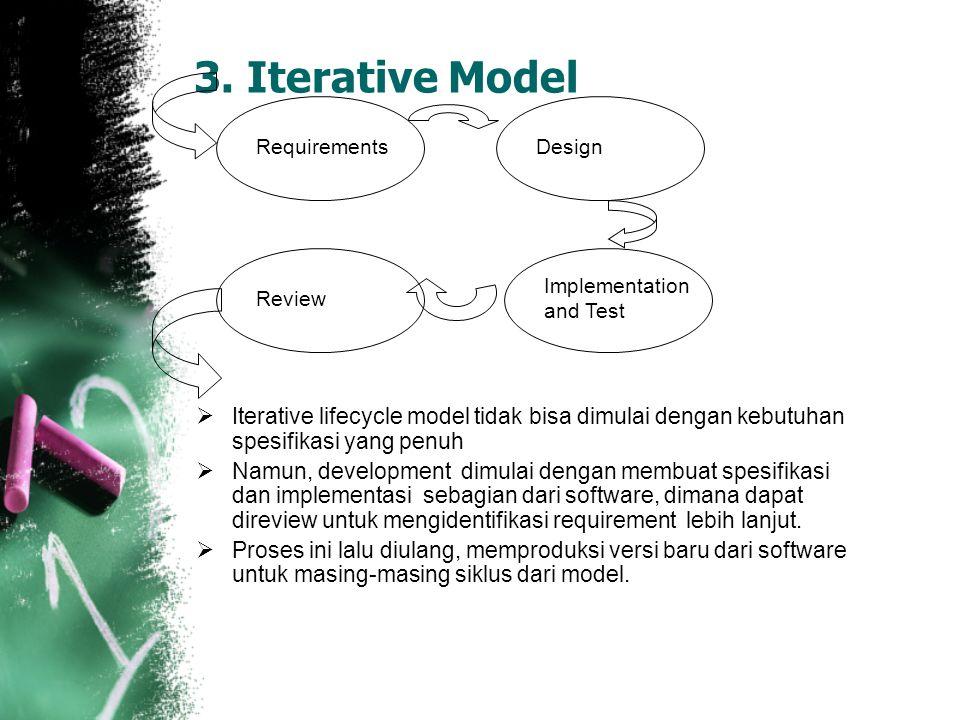  Iterative lifecycle model tidak bisa dimulai dengan kebutuhan spesifikasi yang penuh  Namun, development dimulai dengan membuat spesifikasi dan implementasi sebagian dari software, dimana dapat direview untuk mengidentifikasi requirement lebih lanjut.