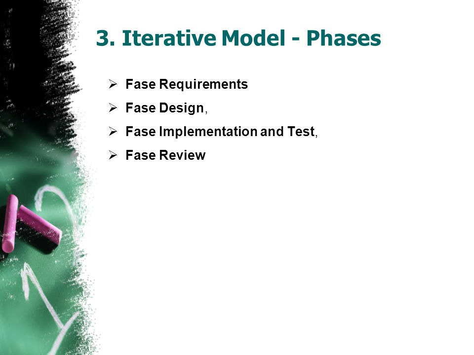  Fase Requirements  Fase Design,  Fase Implementation and Test,  Fase Review 3. Iterative Model - Phases