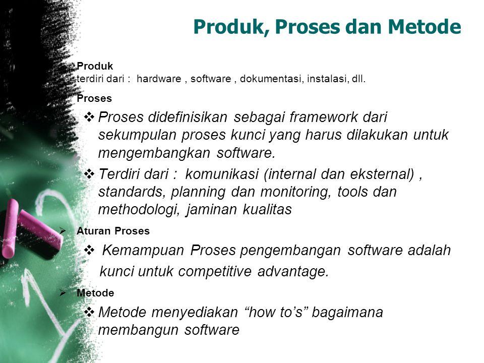  Produk terdiri dari : hardware, software, dokumentasi, instalasi, dll.  Proses  Proses didefinisikan sebagai framework dari sekumpulan proses kunc