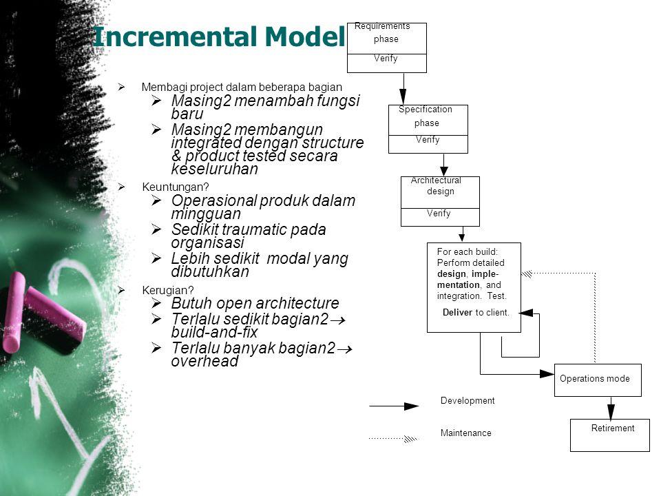 Incremental Model  Membagi project dalam beberapa bagian  Masing2 menambah fungsi baru  Masing2 membangun integrated dengan structure & product tested secara keseluruhan  Keuntungan.