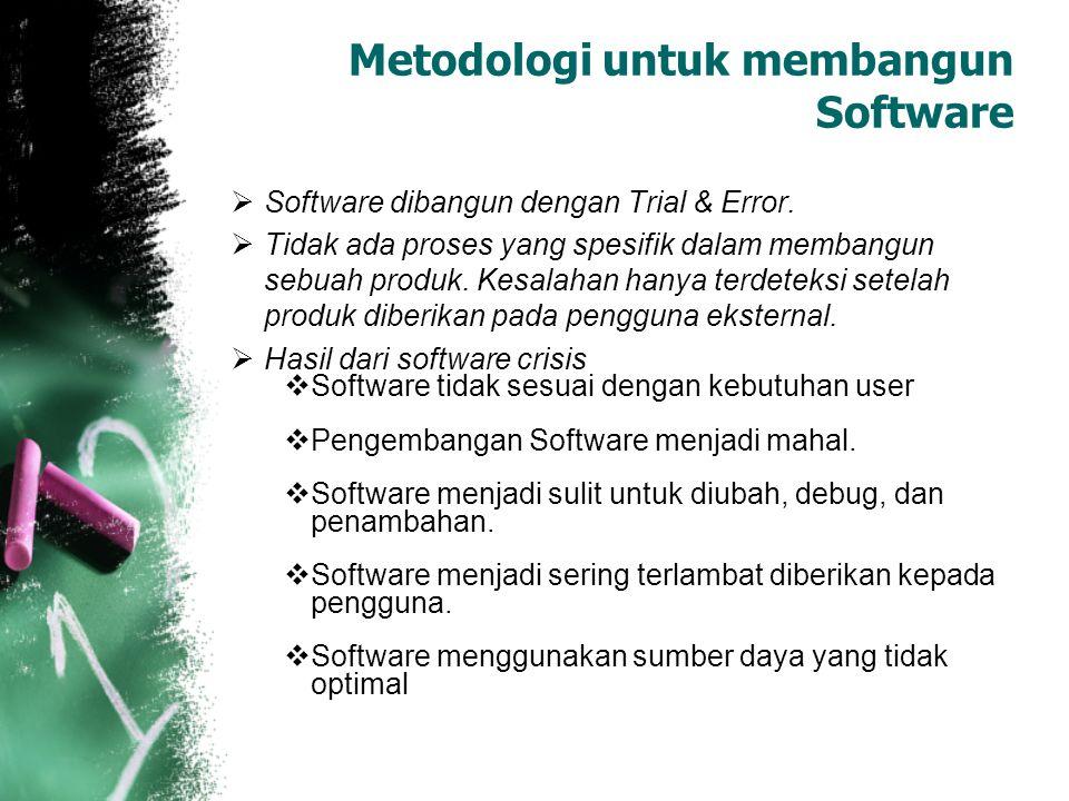  Software dibangun dengan Trial & Error.  Tidak ada proses yang spesifik dalam membangun sebuah produk. Kesalahan hanya terdeteksi setelah produk di