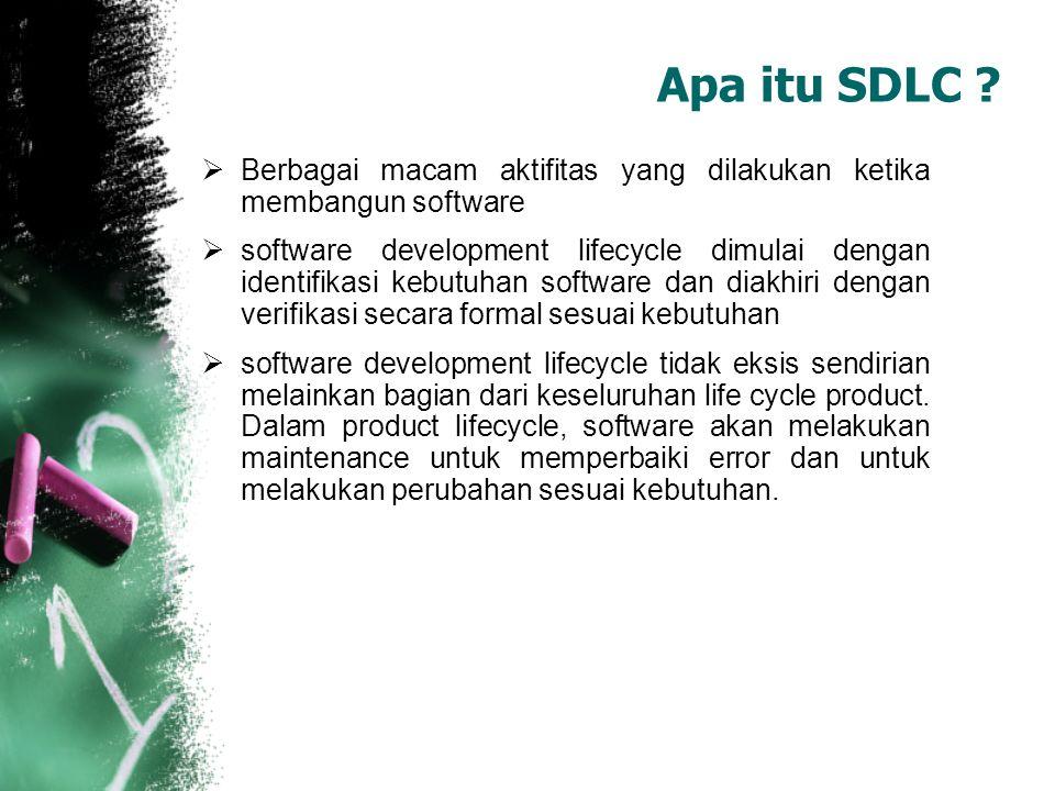  Berbagai macam aktifitas yang dilakukan ketika membangun software  software development lifecycle dimulai dengan identifikasi kebutuhan software da
