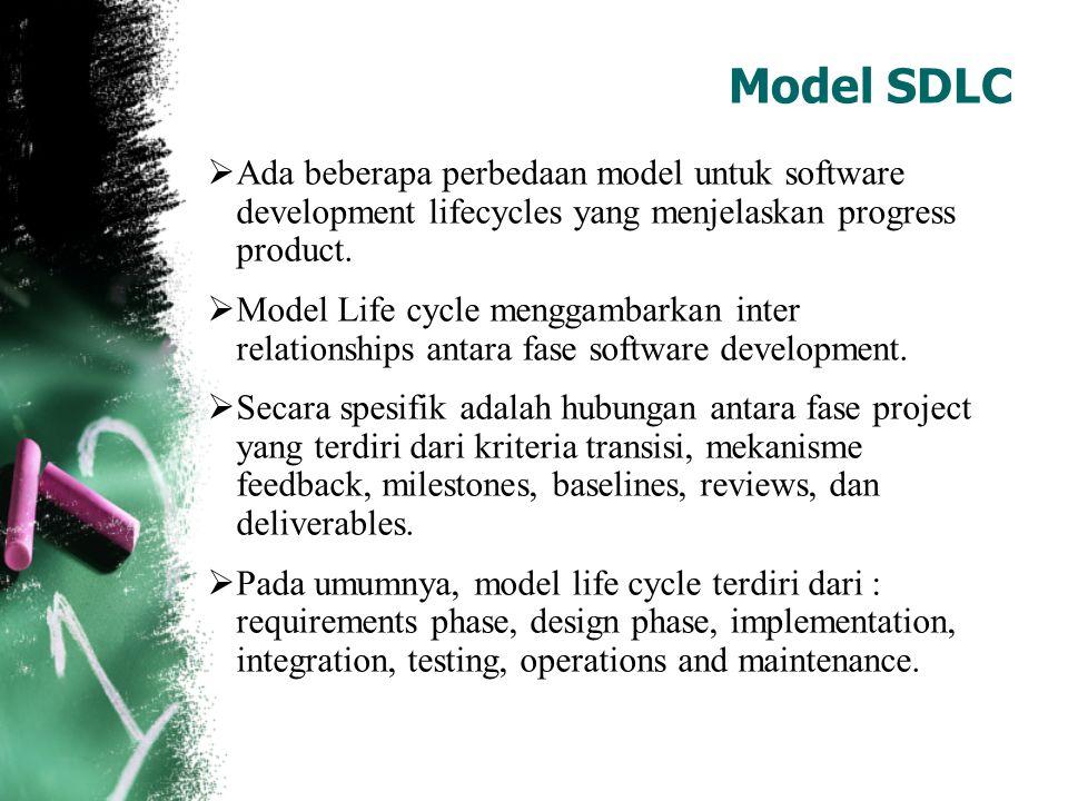  Ada beberapa perbedaan model untuk software development lifecycles yang menjelaskan progress product.  Model Life cycle menggambarkan inter relatio