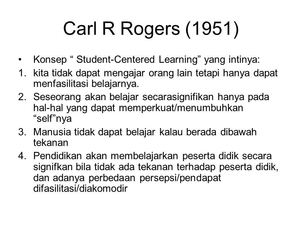 """Carl R Rogers (1951) •Konsep """" Student-Centered Learning"""" yang intinya: 1.kita tidak dapat mengajar orang lain tetapi hanya dapat menfasilitasi belaja"""