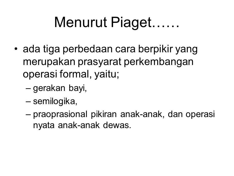 Menurut Piaget…… •ada tiga perbedaan cara berpikir yang merupakan prasyarat perkembangan operasi formal, yaitu; –gerakan bayi, –semilogika, –praoprasi