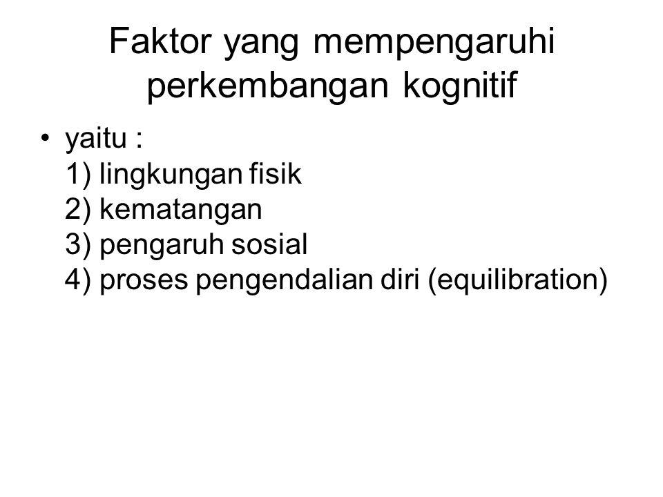 Faktor yang mempengaruhi perkembangan kognitif •yaitu : 1) lingkungan fisik 2) kematangan 3) pengaruh sosial 4) proses pengendalian diri (equilibratio