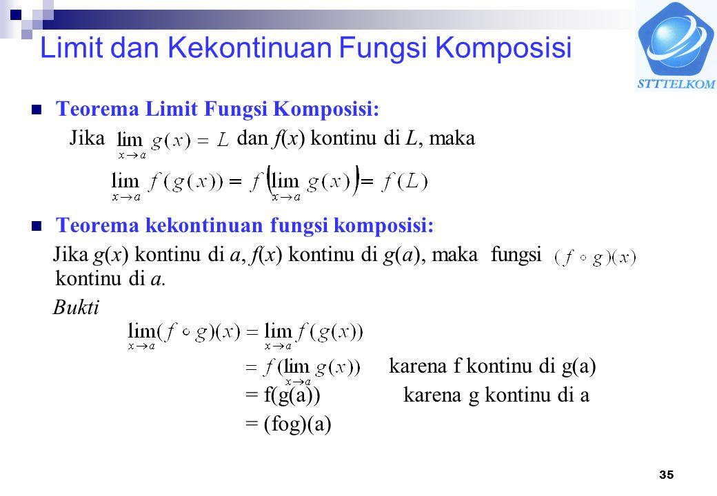 35 Limit dan Kekontinuan Fungsi Komposisi  Teorema Limit Fungsi Komposisi: Jika dan f(x) kontinu di L, maka  Teorema kekontinuan fungsi komposisi: Jika g(x) kontinu di a, f(x) kontinu di g(a), maka fungsi kontinu di a.