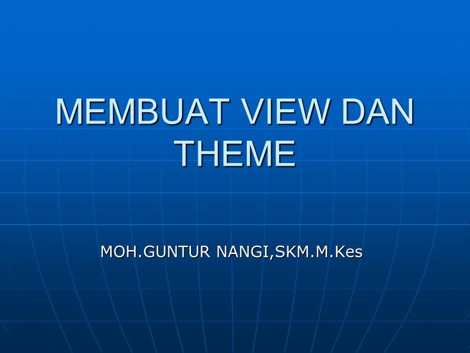 MEMBUAT VIEW DAN THEME MOH.GUNTUR NANGI,SKM.M.Kes