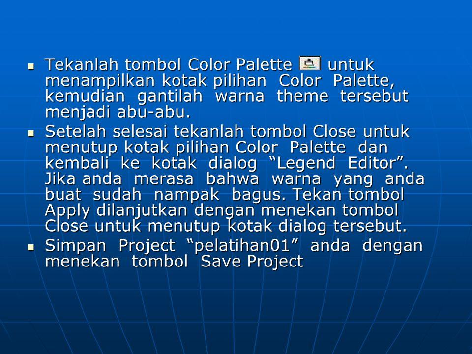  Tekanlah tombol Color Palette untuk menampilkan kotak pilihan Color Palette, kemudian gantilah warna theme tersebut menjadi abu-abu.