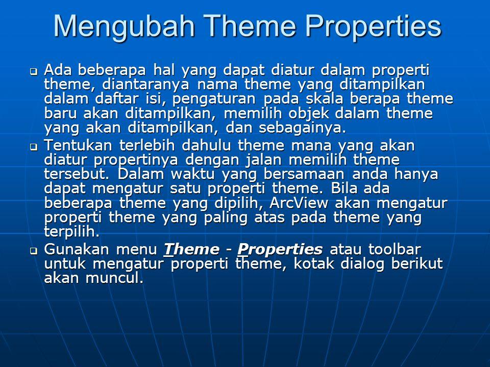 Mengubah Theme Properties  Ada beberapa hal yang dapat diatur dalam properti theme, diantaranya nama theme yang ditampilkan dalam daftar isi, pengaturan pada skala berapa theme baru akan ditampilkan, memilih objek dalam theme yang akan ditampilkan, dan sebagainya.