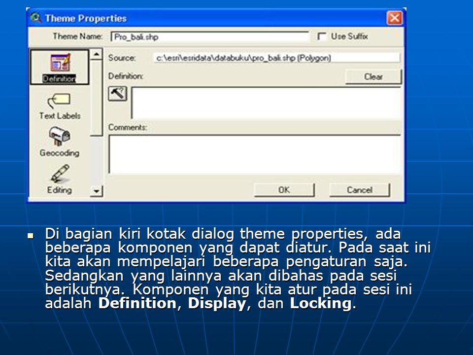  Di bagian kiri kotak dialog theme properties, ada beberapa komponen yang dapat diatur.