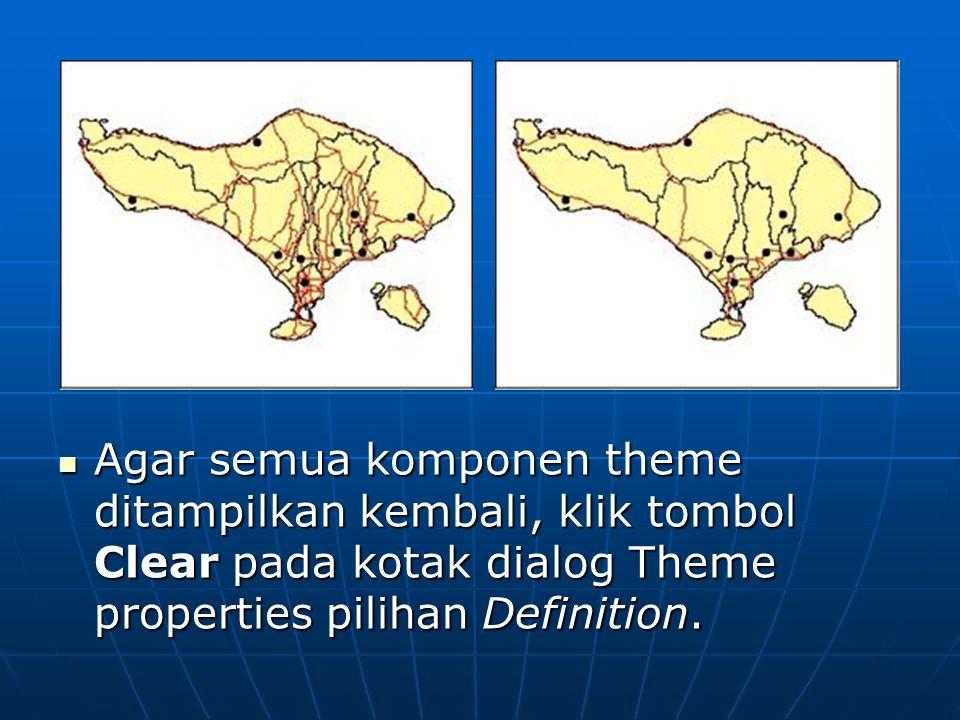  Agar semua komponen theme ditampilkan kembali, klik tombol Clear pada kotak dialog Theme properties pilihan Definition.