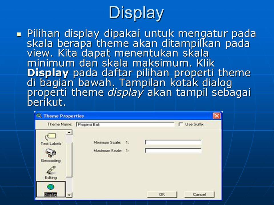 Display  Pilihan display dipakai untuk mengatur pada skala berapa theme akan ditampilkan pada view. Kita dapat menentukan skala minimum dan skala mak