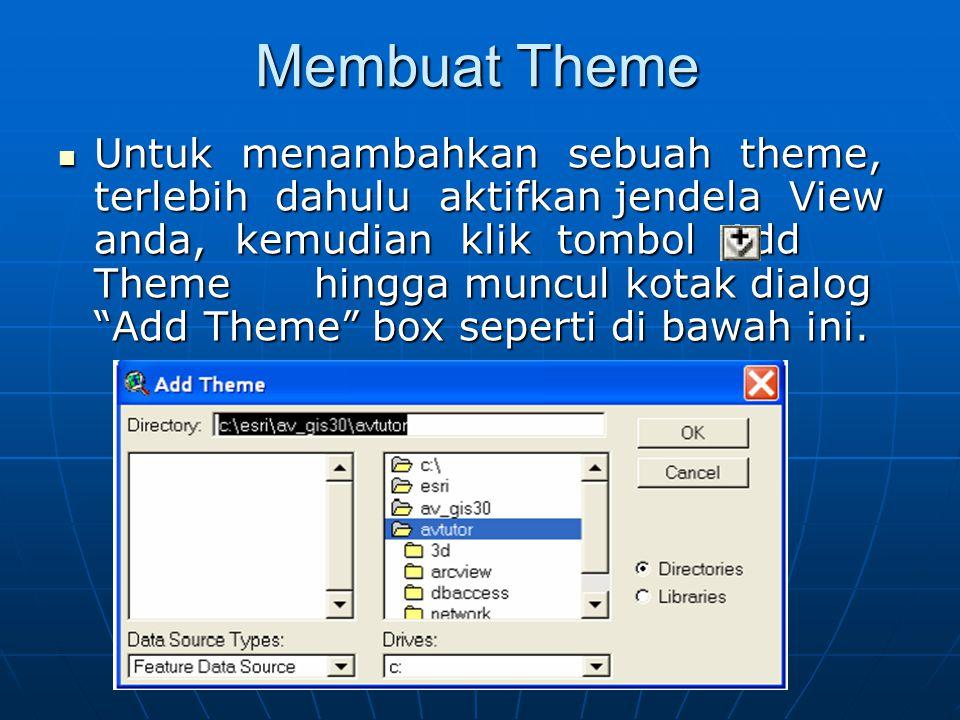 Membuat Theme  Untuk menambahkan sebuah theme, terlebih dahulu aktifkan jendela View anda, kemudian klik tombol Add Theme hingga muncul kotak dialog Add Theme box seperti di bawah ini.