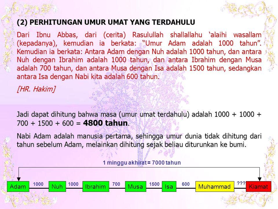 (2) PERHITUNGAN UMUR UMAT YANG TERDAHULU Dari Ibnu Abbas, dari (cerita) Rasulullah shallallahu 'alaihi wasallam (kepadanya), kemudian ia berkata: Umur Adam adalah 1000 tahun .