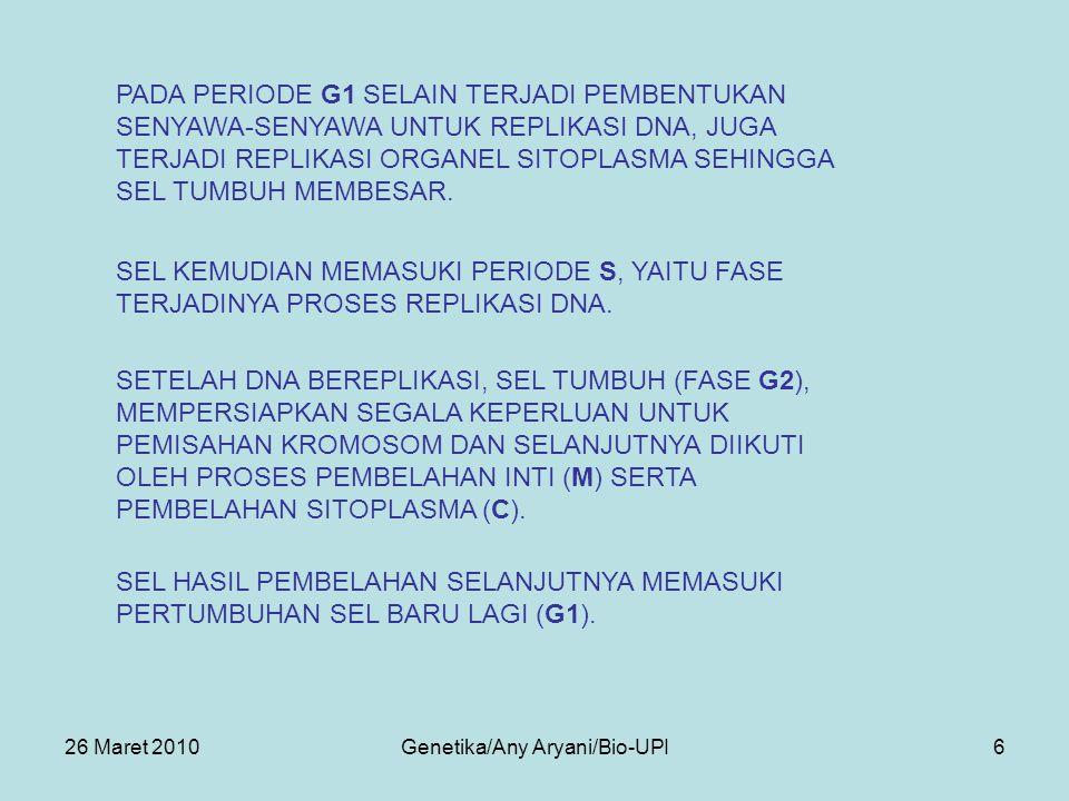 26 Maret 2010Genetika/Any Aryani/Bio-UPI6 SEL HASIL PEMBELAHAN SELANJUTNYA MEMASUKI PERTUMBUHAN SEL BARU LAGI (G1).