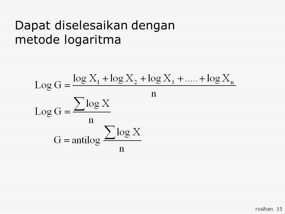 rosihan 15 Dapat diselesaikan dengan metode logaritma