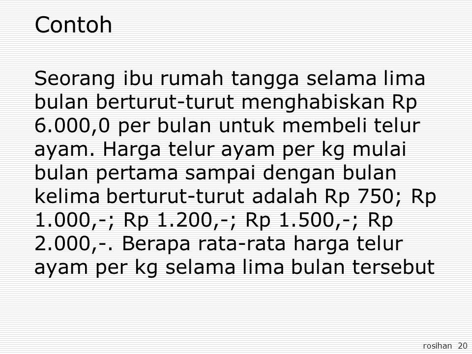 rosihan 20 Contoh Seorang ibu rumah tangga selama lima bulan berturut-turut menghabiskan Rp 6.000,0 per bulan untuk membeli telur ayam. Harga telur ay