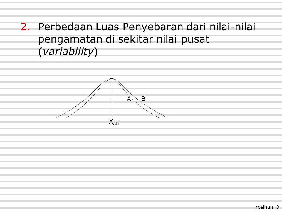 rosihan 3 2.Perbedaan Luas Penyebaran dari nilai-nilai pengamatan di sekitar nilai pusat (variability) AB X AB