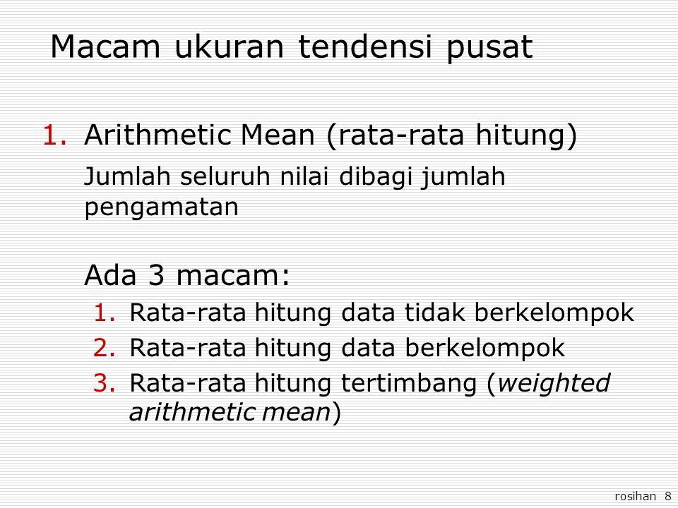 rosihan 8 Macam ukuran tendensi pusat 1.Arithmetic Mean (rata-rata hitung) Jumlah seluruh nilai dibagi jumlah pengamatan Ada 3 macam: 1.Rata-rata hitu