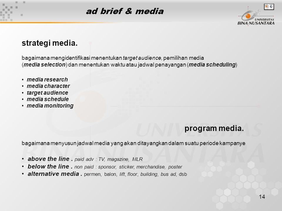 14 ad brief & media strategi media. bagaimana mengidentifikasi menentukan target audience, pemilihan media (media selection) dan menentukan waktu atau