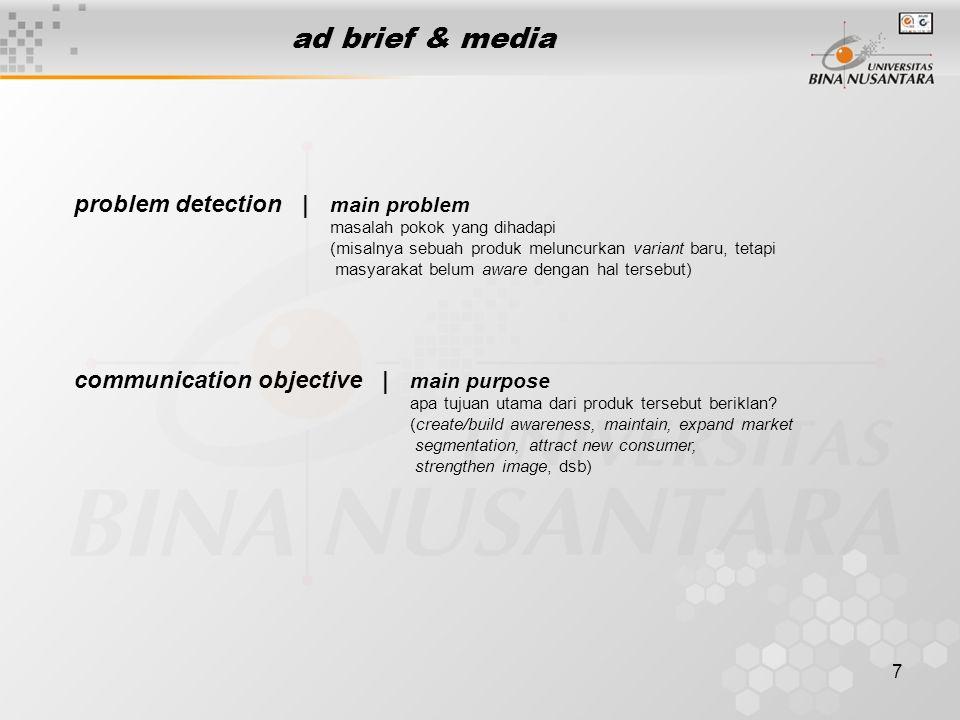 7 ad brief & media problem detection | main problem masalah pokok yang dihadapi (misalnya sebuah produk meluncurkan variant baru, tetapi masyarakat be