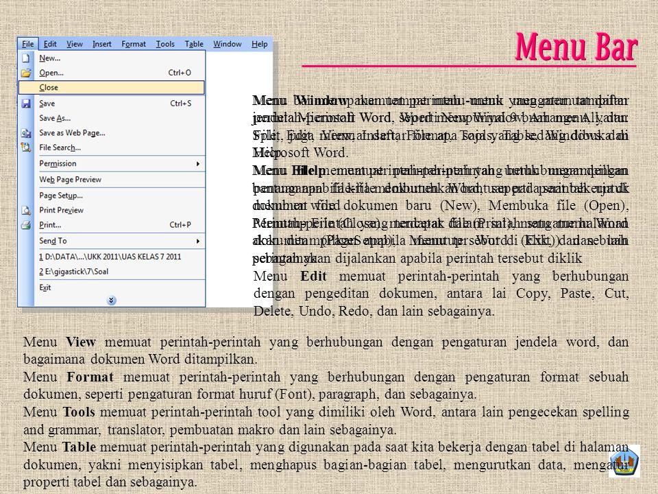 Menu bar merupakan tempat menu-menu yang memuat daftar perintah-perintah Word. Word mempunyai 9 buah menu, yaitu: File, Edit, View, Insert, Format, To