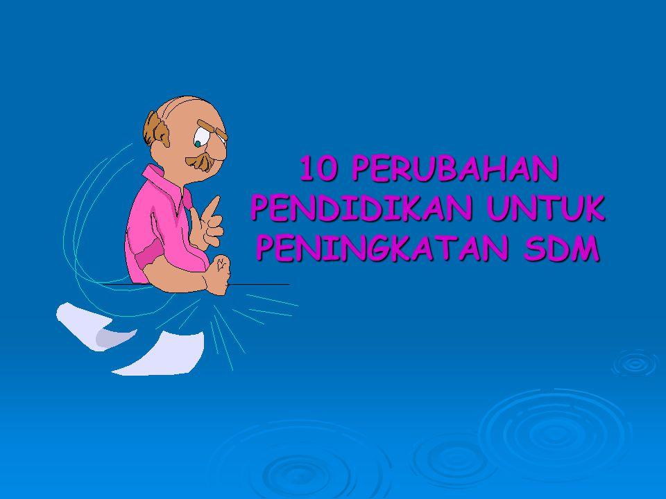 10 PERUBAHAN PENDIDIKAN UNTUK PENINGKATAN SDM
