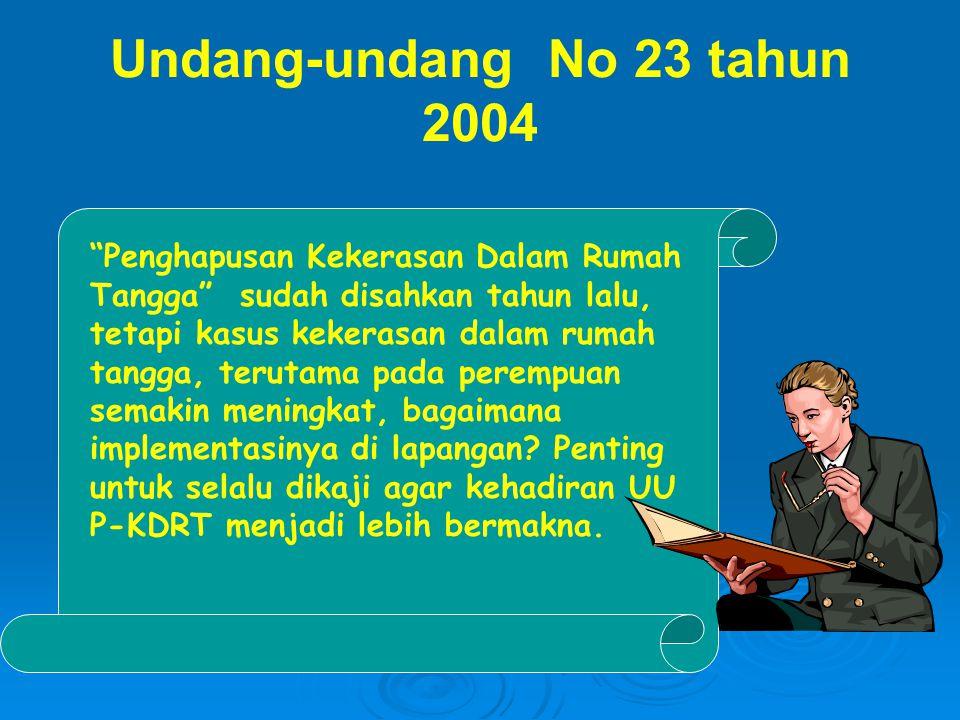 """Undang-undang No 23 tahun 2004 """"Penghapusan Kekerasan Dalam Rumah Tangga"""" sudah disahkan tahun lalu, tetapi kasus kekerasan dalam rumah tangga, teruta"""