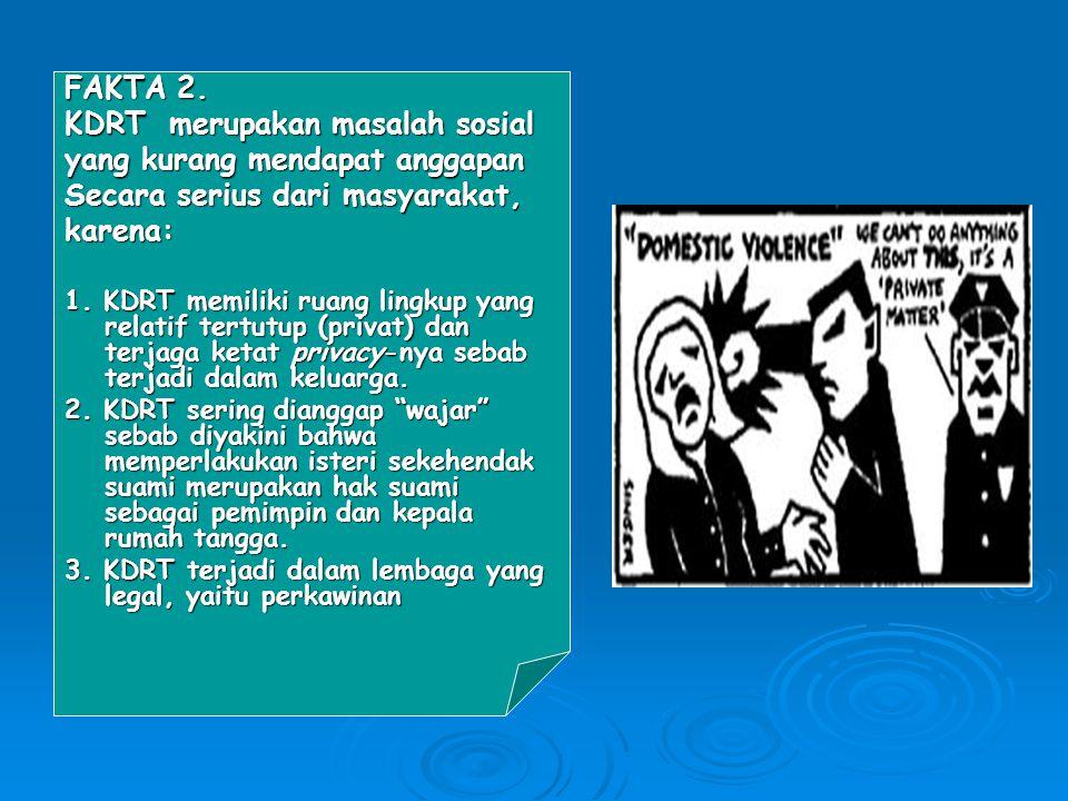 FAKTA 3 : KDRT merupakan bahaya terbesar bagi perempuan daripada kekerasan di jalanan.