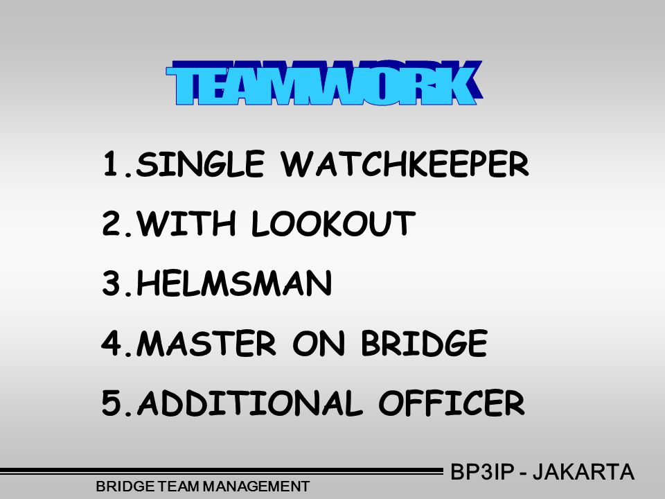 1.SINGLE WATCHKEEPER 2.WITH LOOKOUT 3.HELMSMAN 4.MASTER ON BRIDGE 5.ADDITIONAL OFFICER BP3IP - JAKARTA BRIDGE TEAM MANAGEMENT