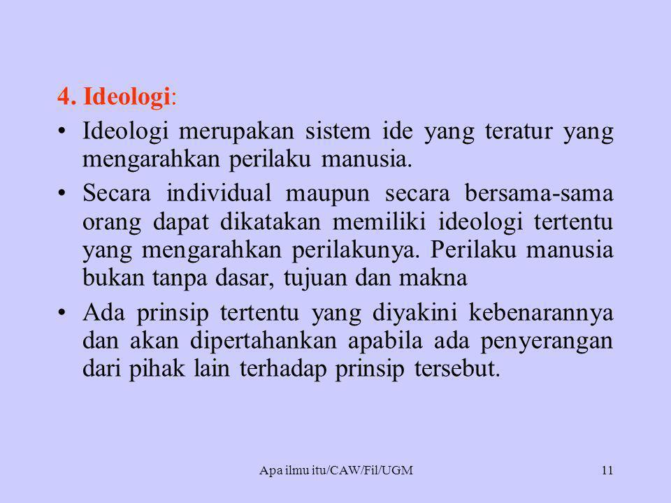 4. Ideologi: •Ideologi merupakan sistem ide yang teratur yang mengarahkan perilaku manusia. •Secara individual maupun secara bersama-sama orang dapat